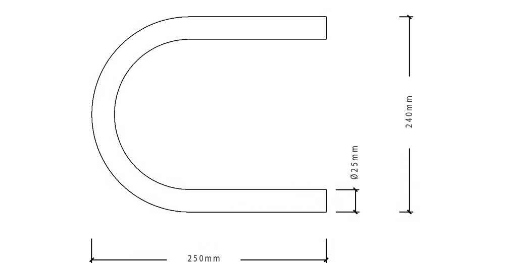 boucle cadre moto souder largeur ext 240mm droit en 25 mm led tanche. Black Bedroom Furniture Sets. Home Design Ideas