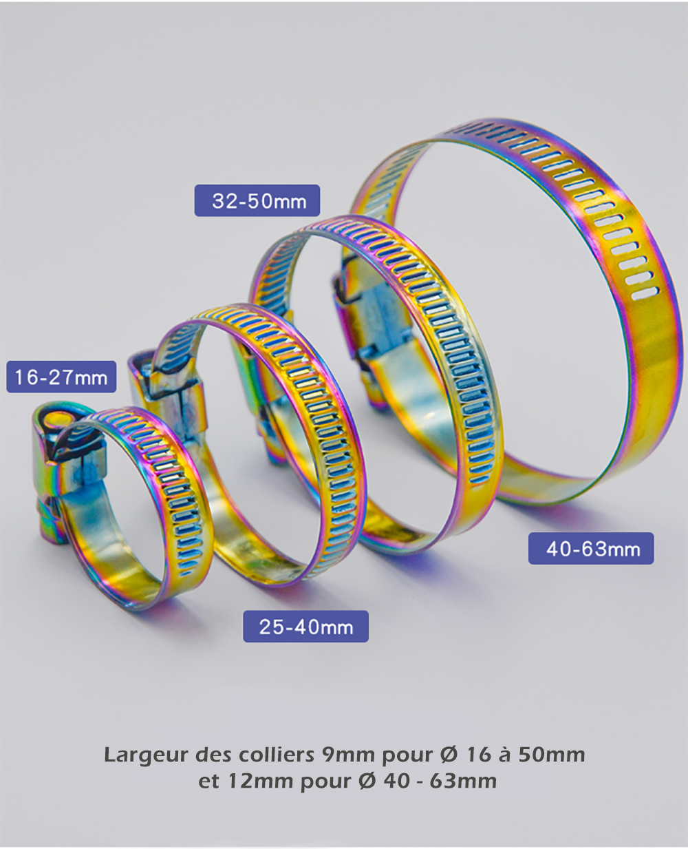 Collier de serrage en acier inoxydable couleur arc-en-ciel largeur