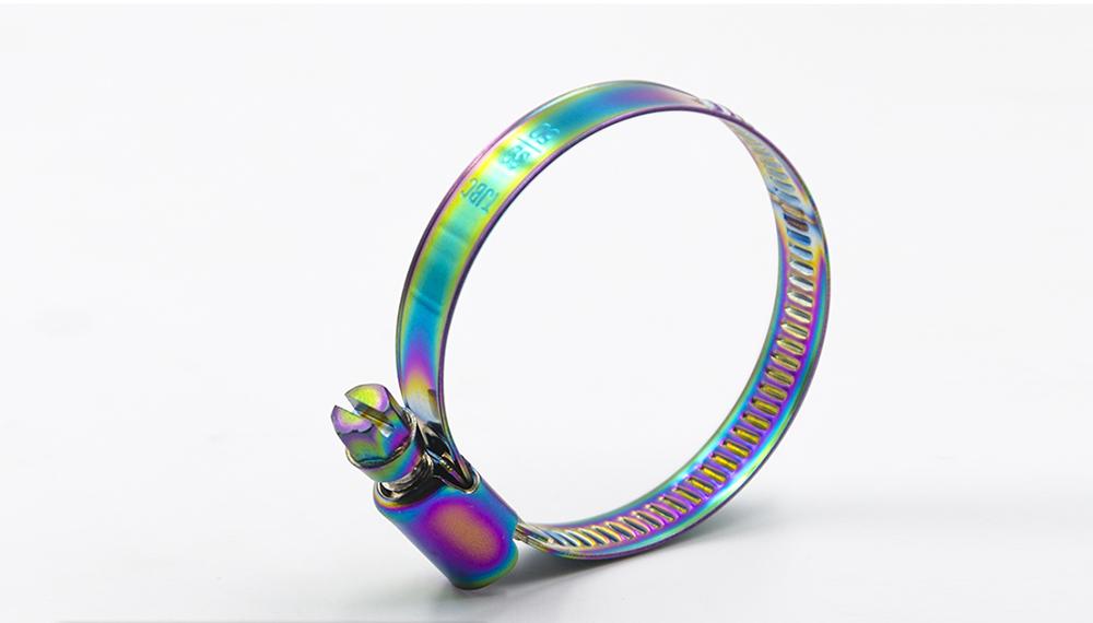 Collier de serrage en acier inoxydable couleur arc-en-ciel
