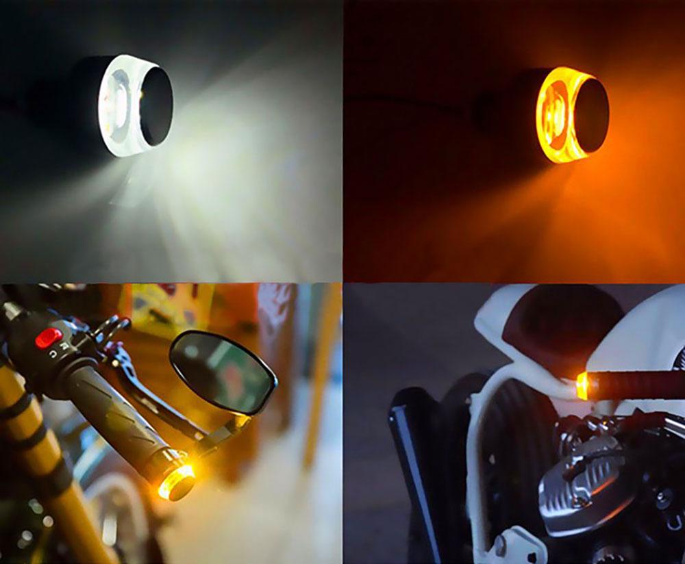 Clignotant embout de guidon de moto couleur d'éclairage blanc ou orange